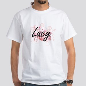 Lucy Artistic Name Design with Flowers T-Shirt